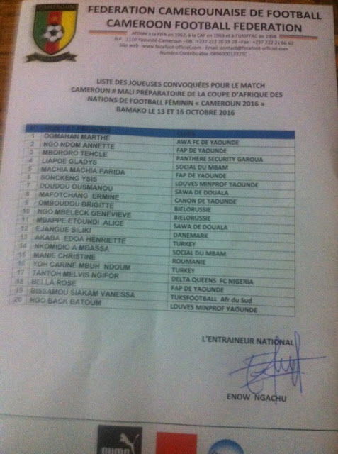 list of players called for friendly against Mali