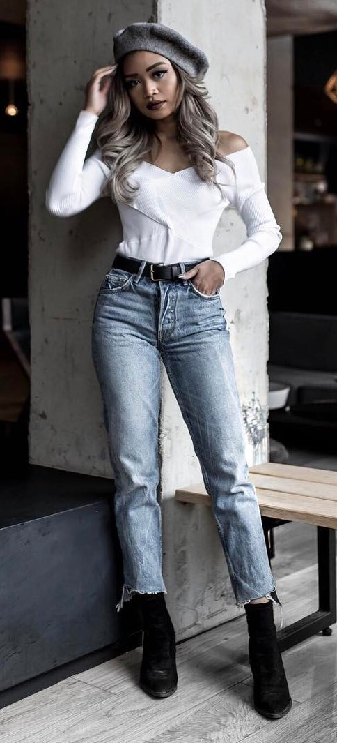 amazing outfit idea: hat + white off shoulder top + jeans + boots