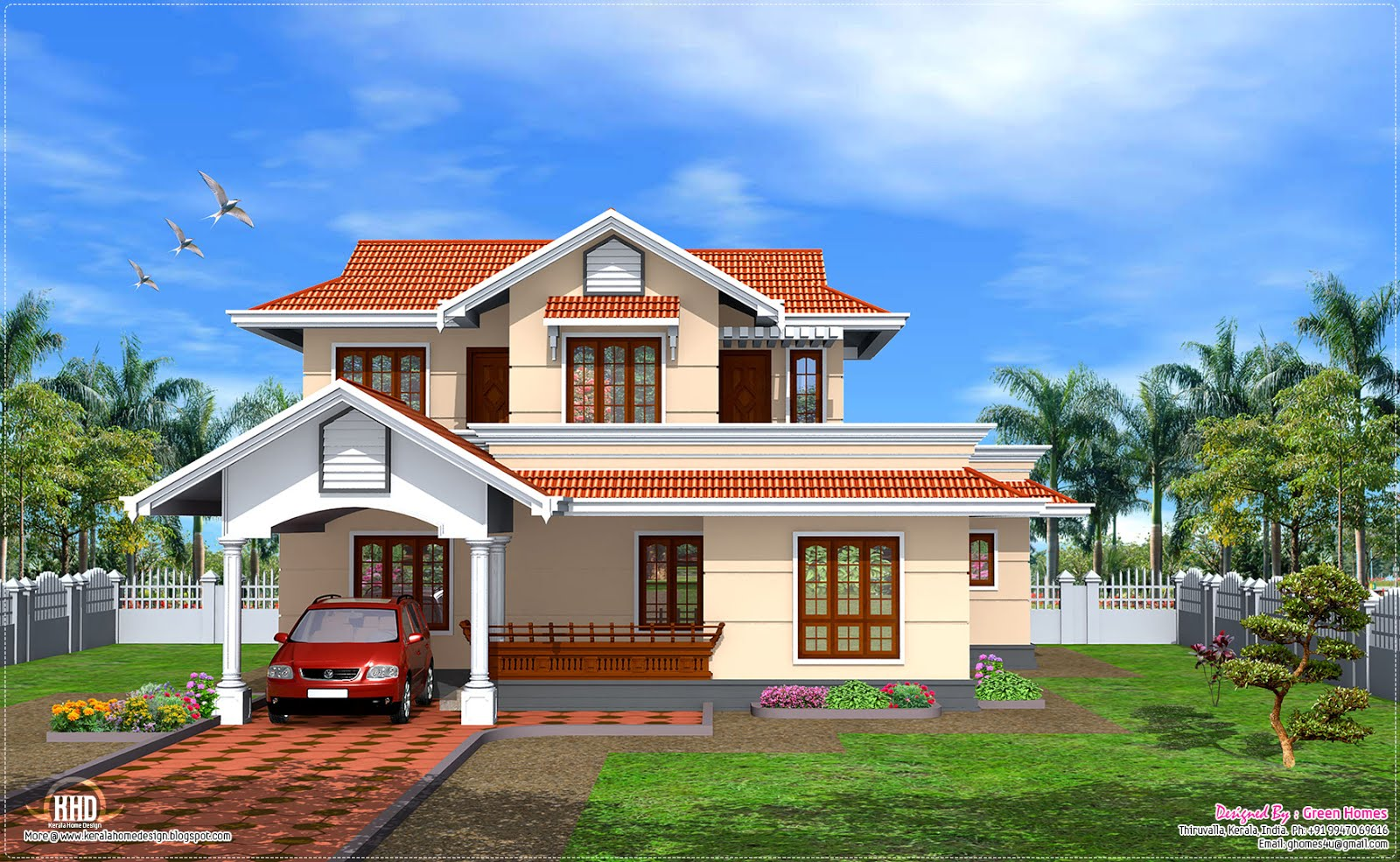 Kerala model 1900 home design kerala home design for Model home plans