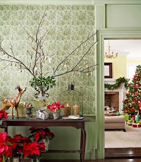 decoración navideña entrada casa