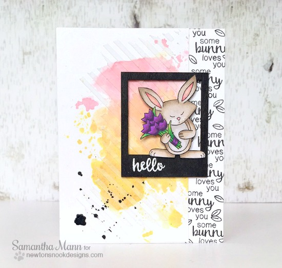 Spring Bunny & Tulips Card by Samantha Mann | Hello Spring Stamp set by Newton's Nook Designs #newtonsnook