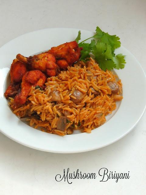 Mushroom biryani, mushroom one pot meal