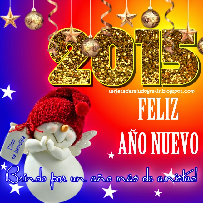 Postal de Feliz Año Nuevo 2015 para amigo amiga