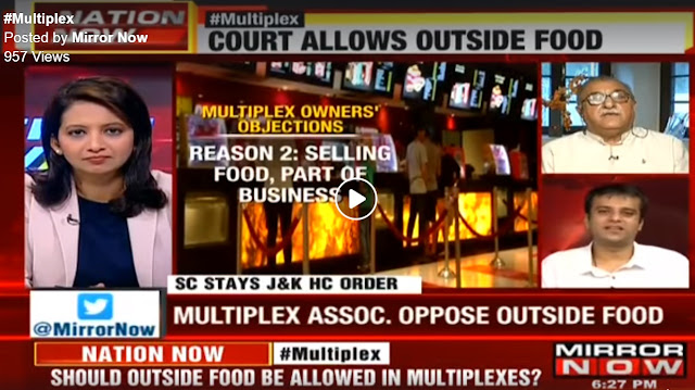 Participating in a live discussion on #MirrorNow on the provision of bringing outside food to multiplexes
