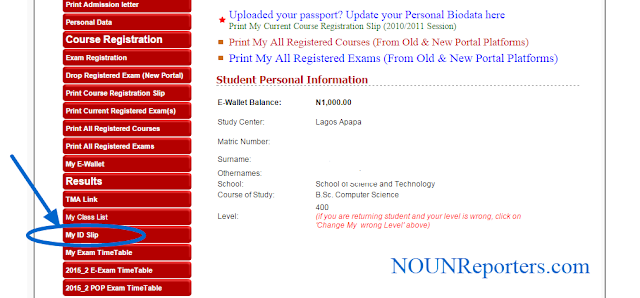 Portal Pro NOUN Students ID Card