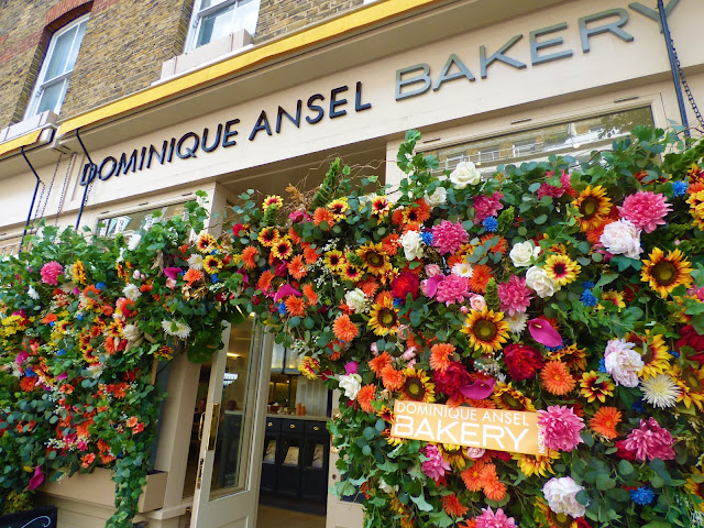 Flower arch outside Dominique Ansel Bakery, Belgravia, London