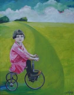 kunst, maleri, galleri, acryl på lærred, barndom, glade farver, art, billede til vægen, grøn, humor