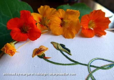 Needlepainted nasturtium bud with the real flowers (Catherine Laurencon Capucines (Inspirations))