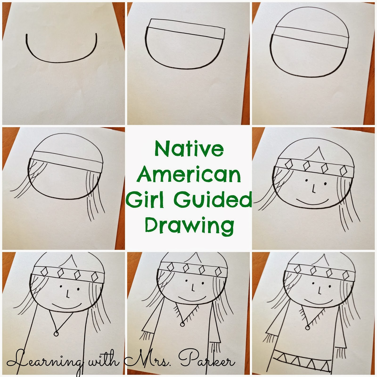 guided drawings of pilgrims and native americans learning with