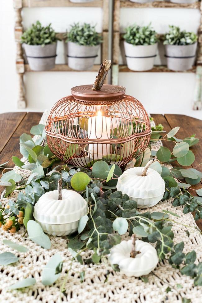 Wire basket and bunt pan pumpkins