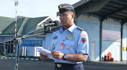 omandan Upacara (Danup) Mayor Kal Adjie, Sumber Foto Kepala Penerangan Pangkalan TNI AU Supadio
