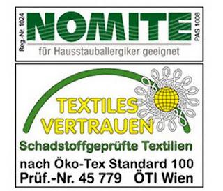 Für Hausstauballergiker geeignet dank mechanischer Textilveredelung NOMITE