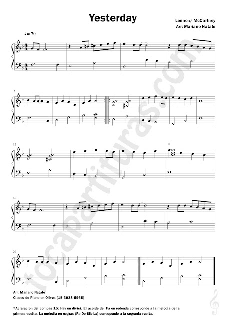 Partitura Fácil de Yesterday The Beatles El Ayer Pianists Sheet Music for beginners Easy Piano for Teachers of Pianists