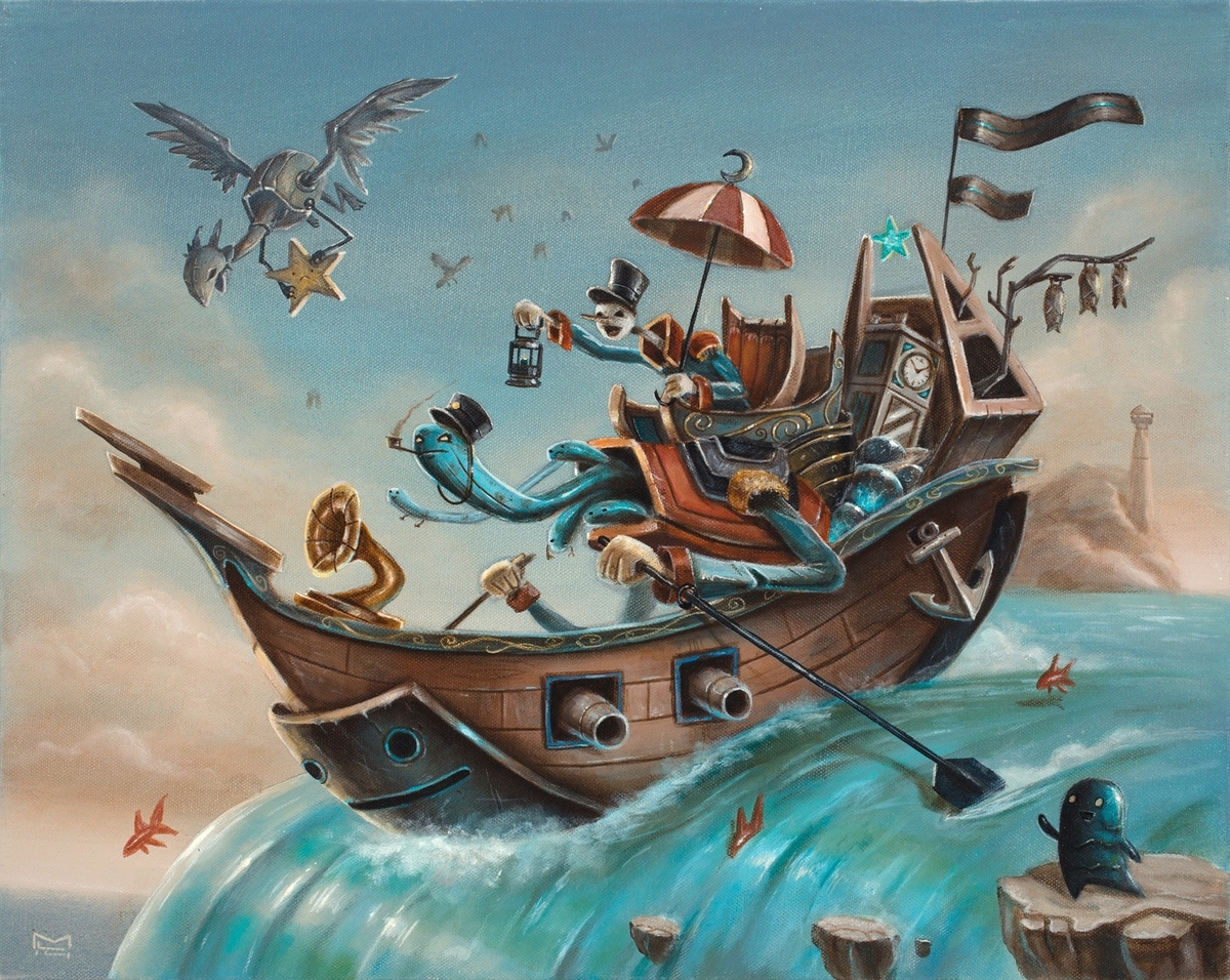 03-Treasure-Hunters-Matt-Linares-Surreal-Paintings-of-Worlds-in-Parallel-Universes-www-designstack-co
