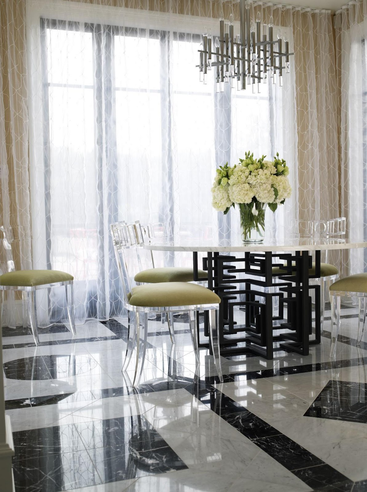 Acrylic Chair Black White Color Scheme Dining Room Bathroom Kitchen