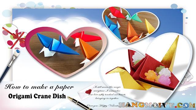 Hướng dẫn cách gấp, xếp con chim Hạc bằng giấy dùng làm đĩa đựng kẹo origami