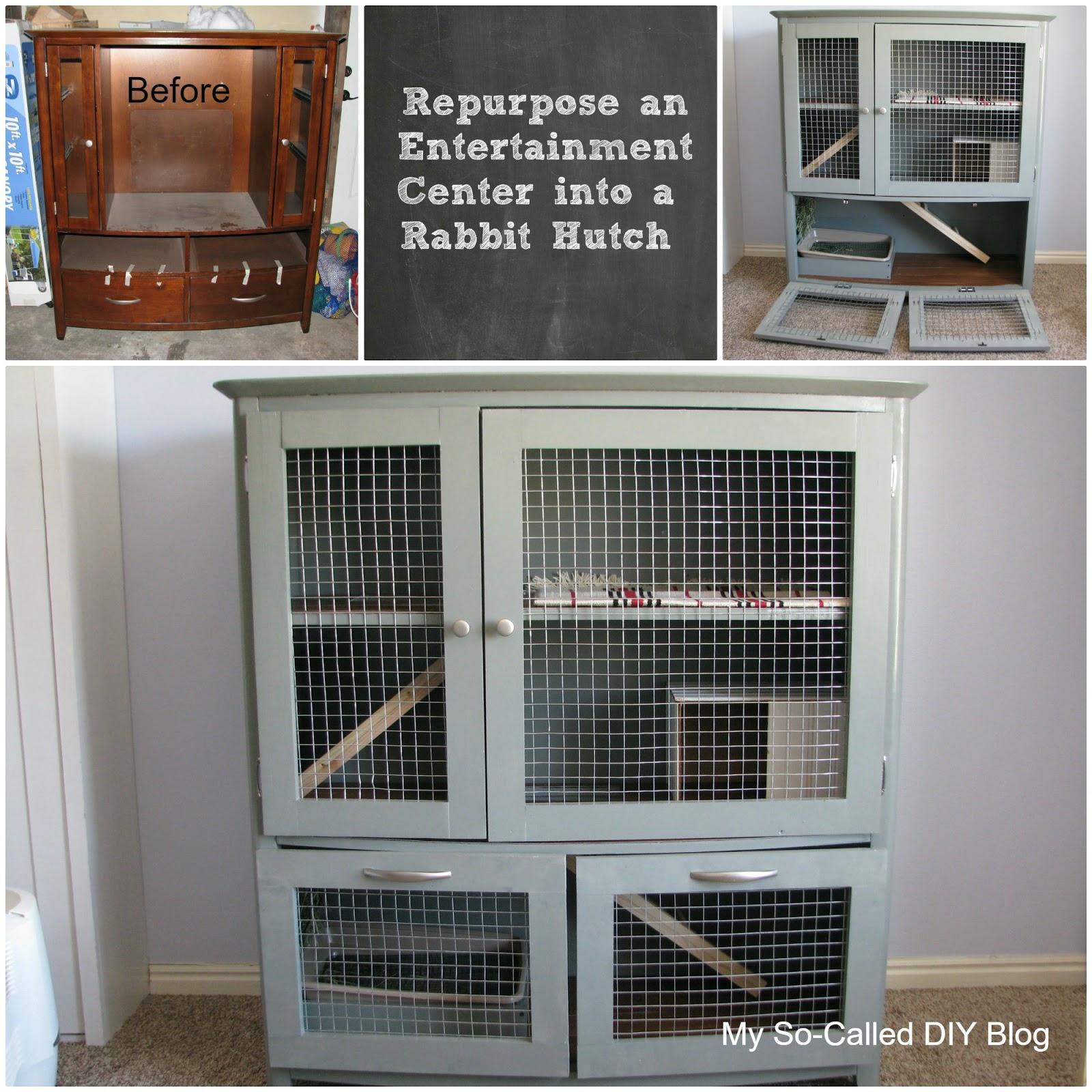 My So-Called DIY Blog: Entertainment Center Rabbit Hutch