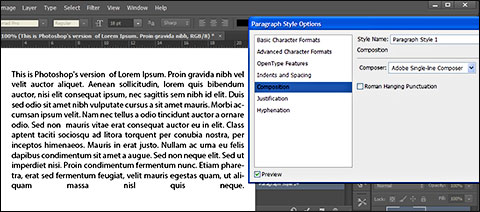 Paragraf tekst sa opcijom Full Justify i Adobe Single-line Composer
