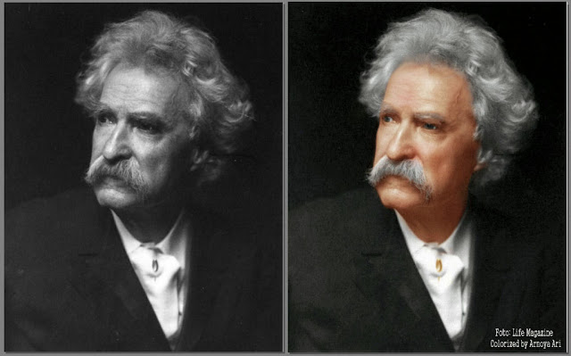 Mark Twain (Samuel Langhorne Clemens) color colorization colorized