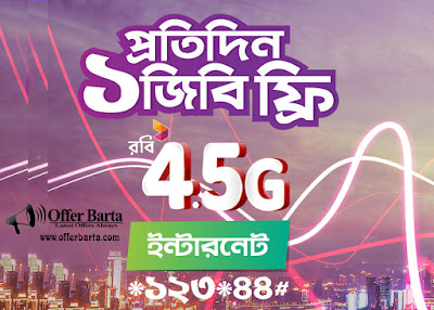Robi 1GB Free 4.5G Internet Everyday New Offer 2018 - posted by www.offerbarta.com