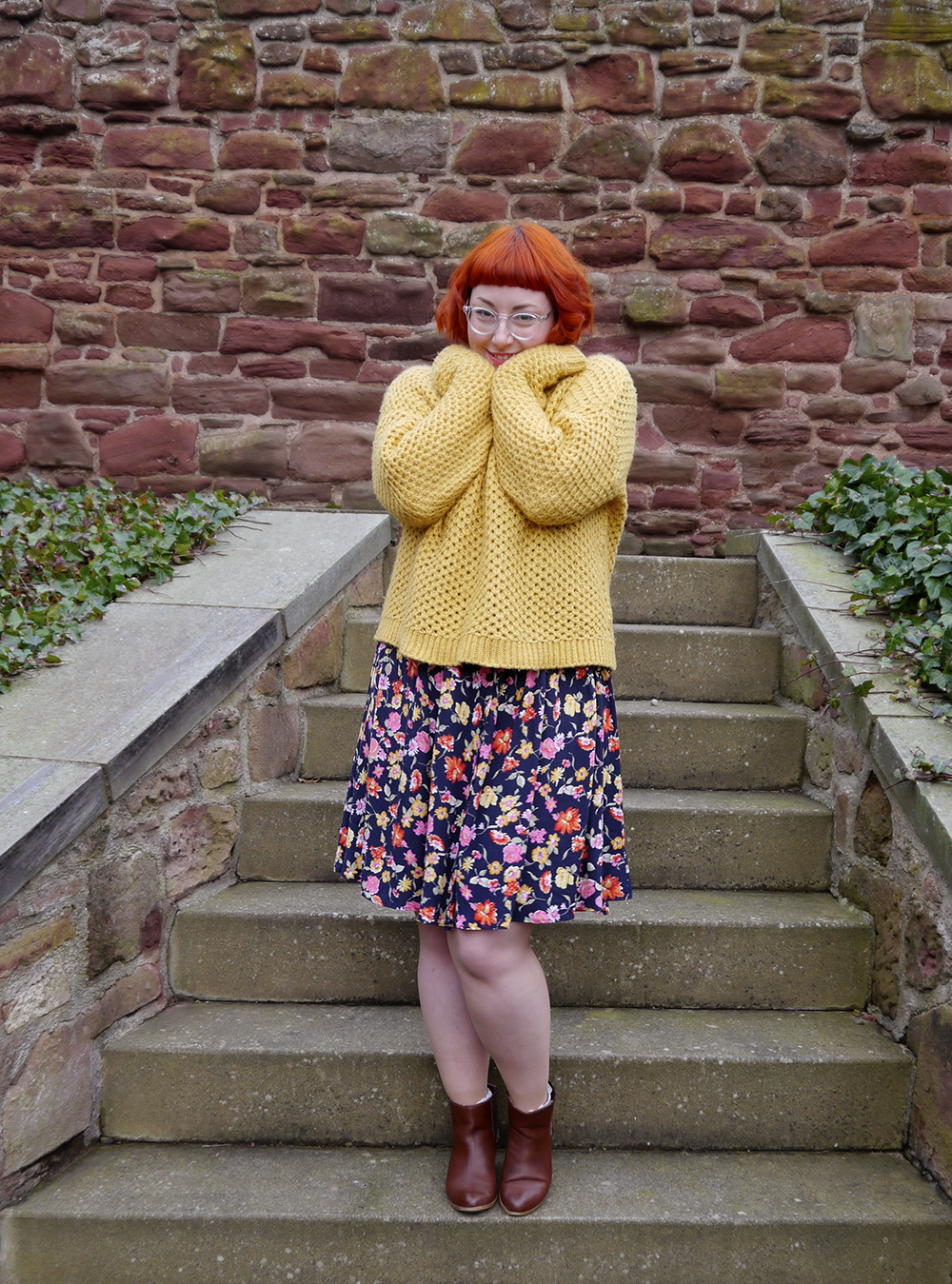 Vintage style, vintage floral dress. vintage kilo sale, mustard chunky knit jumper, cody style, comfy outfit, brown zara boots, The Lucky Dip Club charm necklace, Scottish Blogger, red head, ginger bob, Iolla clear glasses