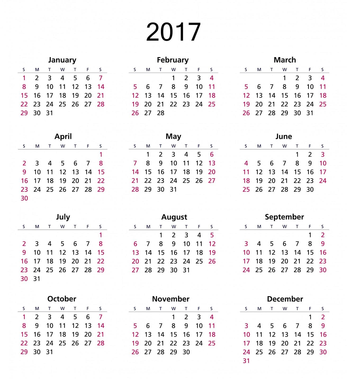 2017 annual calendar