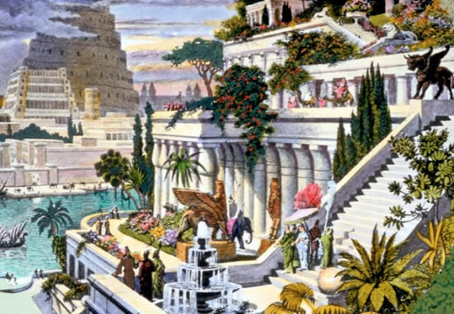 Hanging Gardens of Babylon - 16th century engraving by Dutch artist Martin Heemskerck.