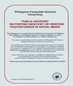 """Working as overseas Filipino workers (OFW) does not only mean that we are working abroad to earn more than we could make in the Philippines but it also includes subjecting ourselves under the laws and regulations of our host countries. There are particular laws that are more strict in other countries compared to our home country and we should be more cautious about doing things that we can openly do in the Philippines. For instance, in Hong Kong, posting obscene selfies and videos is considered a crime.      Ads  Sponsored Links      In Hong Kong, posting obscene and indecent photos or videos in social media is a crime. The Philippine Consulate General (PCG) in Hong Kong fervently reminds OFWs in this area to refrain from doing such things. Doing so will cost you HKD 1 Million in fine and up to three years in jail under the Control of Obscene and Indecent Articles Ordinance (COIAO) of Hong Kong.    Saret said the PCG also released the public advisory after pictures of near-nude Filipino women who reportedly joined a beauty contest spread online recently.  The organizer of the beauty contest accordingly issued a public apology for the people she has put in a shameful situation with a promise that it will never happen again.     The PCG noted that posting obscene materials online is punishable under the Control of Obscene and Indecent Articles Ordinance (COIAO) of Hong Kong.   According to the ordinance, """"a thing is obscene if by reason of obscenity it is not suitable to be published to any person; and a thing is indecent if by reason of indecency it is not suitable to be published to a juvenile.""""     It added that obscenity and indecency include """"violence, depravity, and repulsiveness.""""  Filed under the category of overseas Filipino workers, OFW, Hong Kong, Philippines, obscene, selfies, crime Ads    Latest U.S. News report revealed the 20 best countries where you can put your investments and expect excellent results.    It highlighted four factors namely, the countr"""