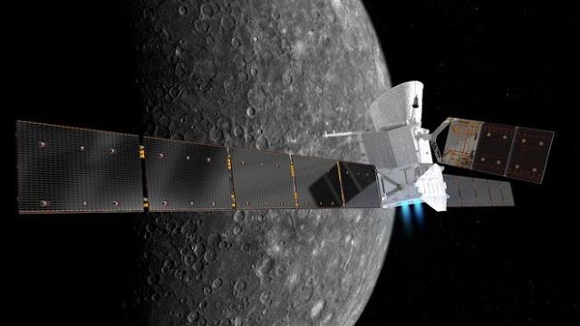 Ilustração artística da nave espacial BepiColombo em Mercúrio