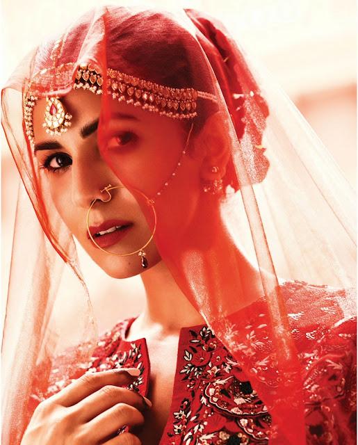 Nimrat Kaur in Sizzling Deep Neck Chania Choli from hapers Bazaar Bride Magazine September 2016