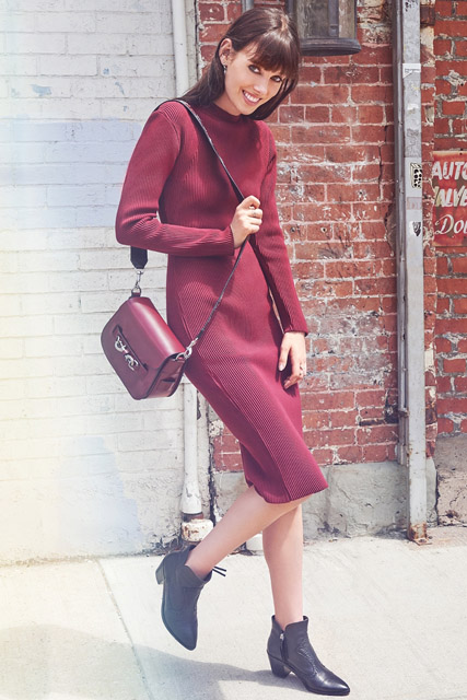 Бордовое трикотажное платье для фигуры прямоугольник