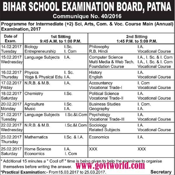 BSEB Class 12th Annual Exam Schedule 2017