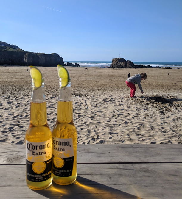 The Sands Resort Cornwall Review | A Family Hotel with Kids Club near Newquay  - beers on the beach at Perranporth