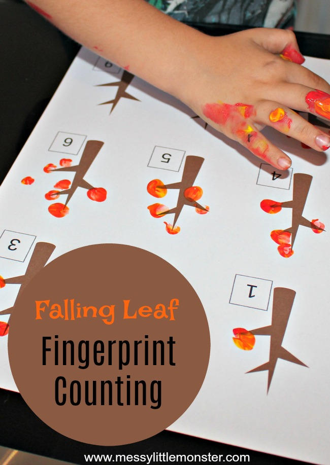 An Autumn/ Fall fingerprint counting activity for kids. Download our free falling leaf printable to help preschoolers work on counting skills and number recognition.