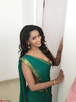 Sanjana Singh Looks Super cute in Green Saree Sleeveless Choli 3.JPG