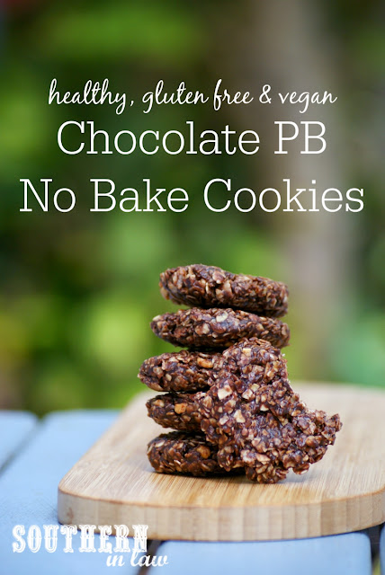 Healthy Vegan Chocolate Peanut Butter No Bake Cookies Recipe - healthy, low fat, gluten free, refined sugar free, clean eating friendly, no bake cookies, vegan