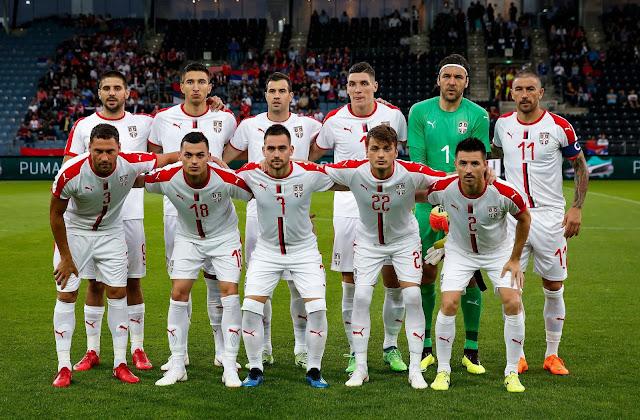 Formación de Serbia ante Chile, amistoso disputado el 4 de junio de 2018