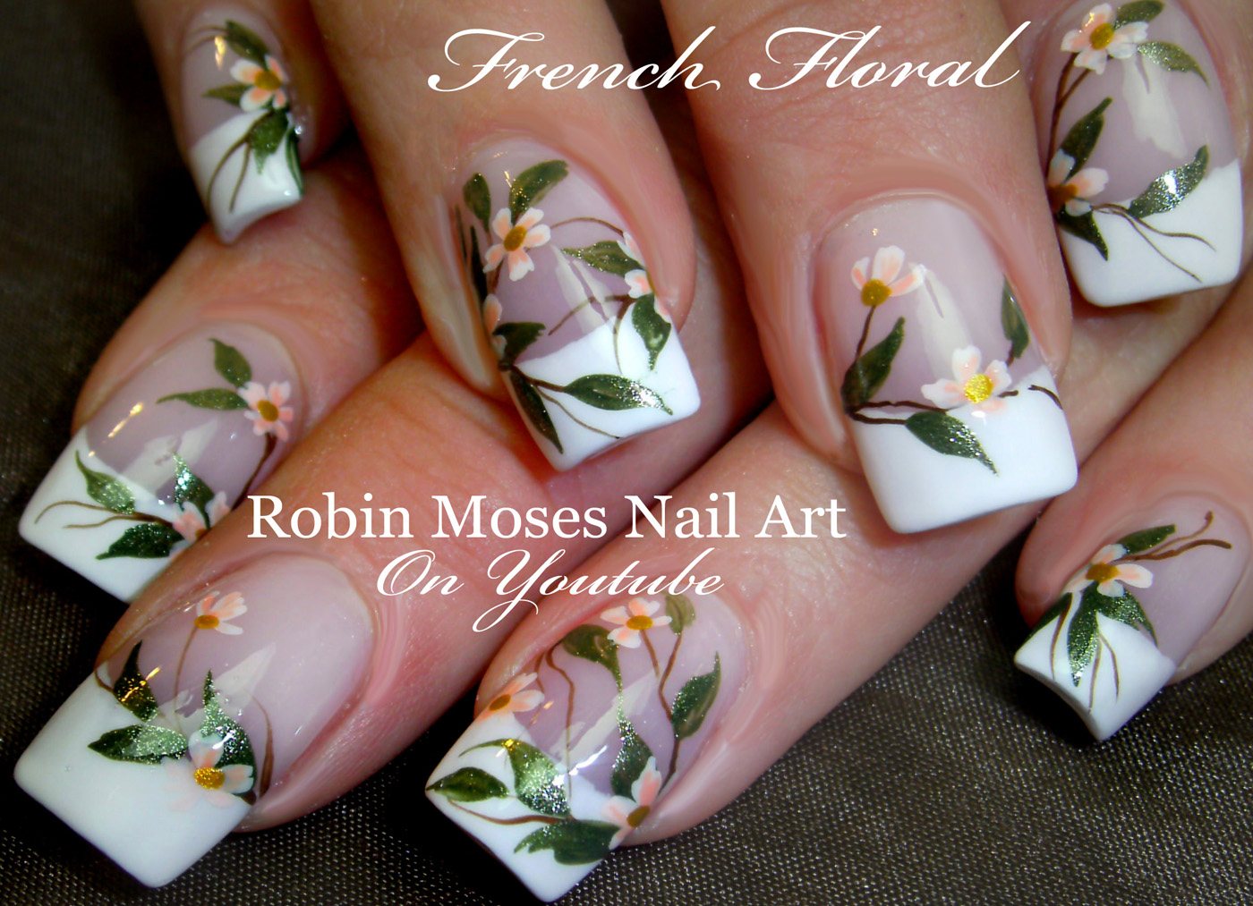 Elegant White Flower Nails \