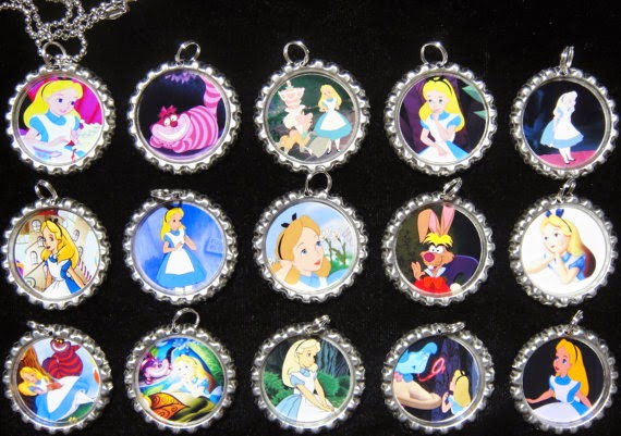 ALICE in THE WONDERLAND - Set of 15 - Bottle Cap Necklaces For Birthday Gifts, Birthday Favors, Party Favors A1