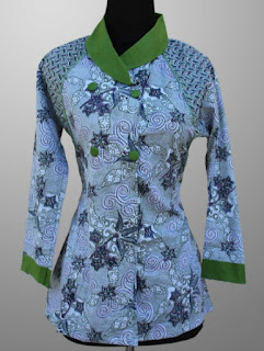 Model Baju Batik Kantor Wanita Berjilbab kombinasi