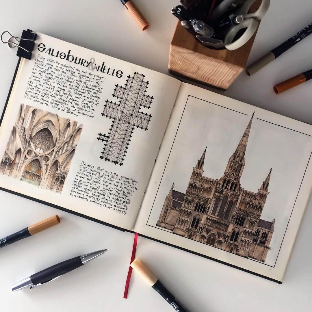 10-Salisbury-Wells-Cathedral-Oğuzhan-Çengel-European-Heritage-Architectural-Drawings-www-designstack-co