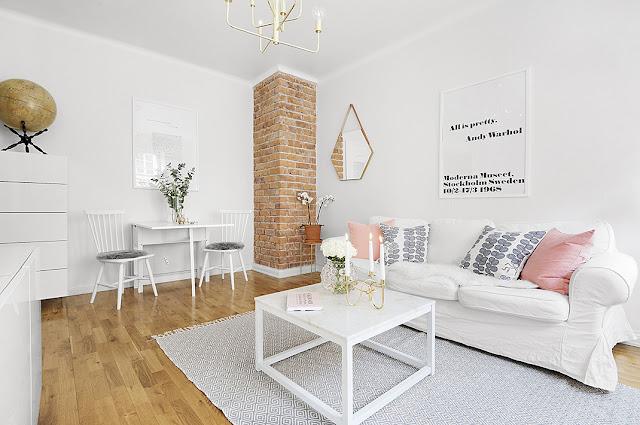 Alb imaculat și accente subtile de culoare într-un apartament de 38 m²