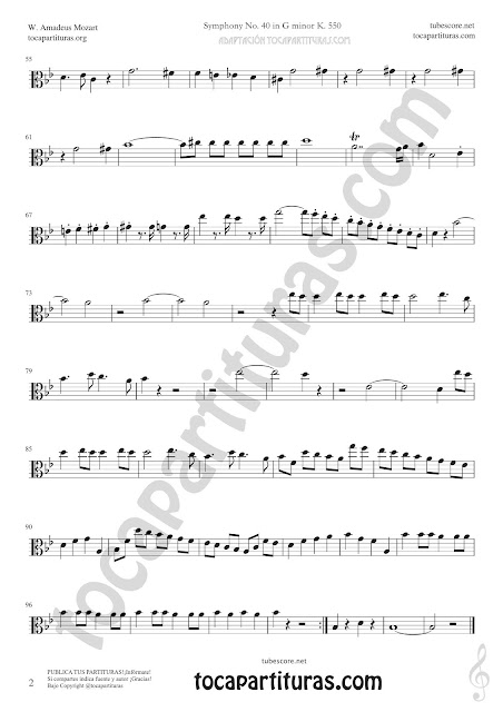 2 Symphony Nº 40 Sheet Music for Viola Music Score PDF and MIDI here