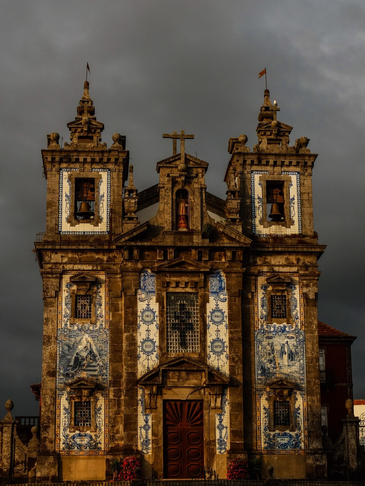 Church of Saint Ildefonso in Porto, Portugal at sunset.