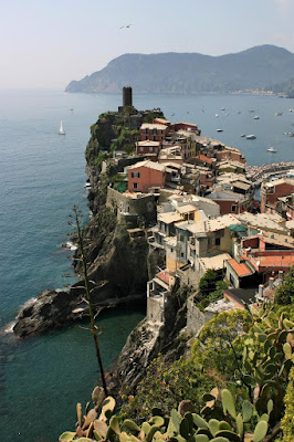 Vernazza in Cinque Terre and the Mediterranean from the trail.