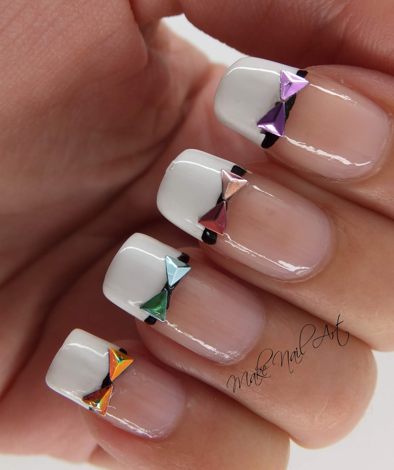 Make Nail Art: French Manicure And Holographic Bows Nail Art Design ...
