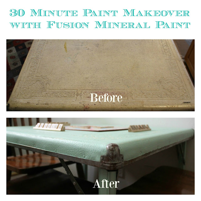 fusion mineral paint, before and after, vintage table, http://bec4-beyondthepicketfence.blogspot.com/2016/04/fusion-blues-giveaway.html
