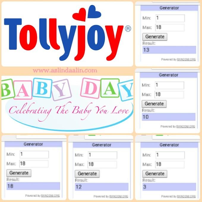 PEMENANG Giveaway Hamper Tollyjoy Malaysia Bernilai RM100 Sempena Tollyjoy Baby Day 2016 (Hari Bayi 2016)