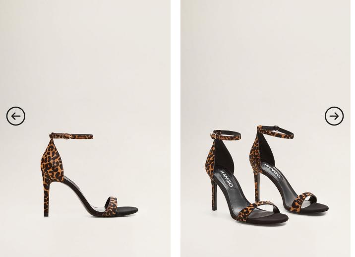 Mango - Sandale elegante negre cu toc inalt si animal print