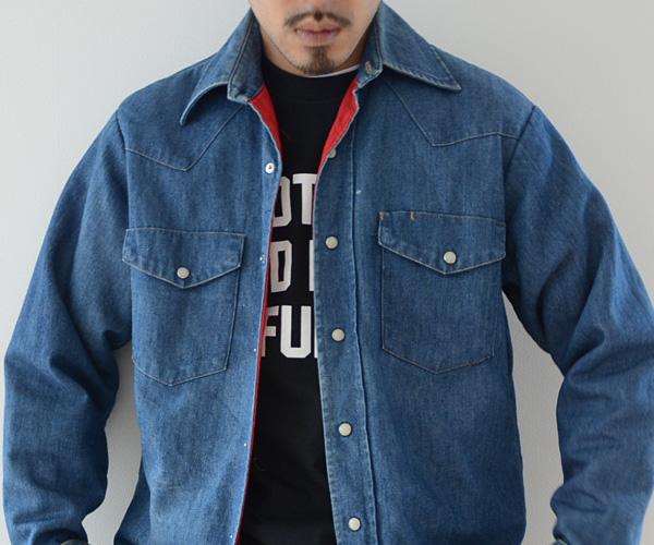 70sビンテージJC PENNEYインディゴデニムウエスタンシャツ